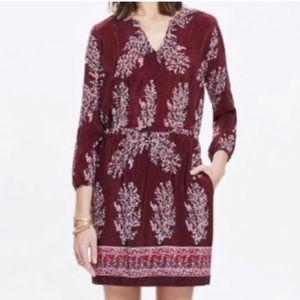 Madewell Burgundy V-neck Dress